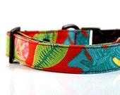 Tropical Leaf Dog Collar - Red- Antique Brass