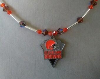 Cleveland Browns Swarovski Crystal Necklace