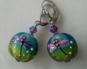 Lampwork Glass and Swarovski Crystal Dragonfly Earrings
