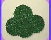 TAGS Foil Labels Scallop Green 2 inch Circle Embossed, Elegant Card Stock, Weddings, Set 30