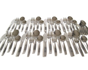 Retro Stainless Flatware Set Service for 8 or 4 Stainless Korea Silverware Mid Century Modern Scroll Black Highlights