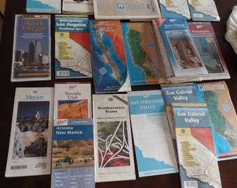 Map Cartography Lot USA California Los Angeles Mexico Mix of 23 DIY Decoupage Display
