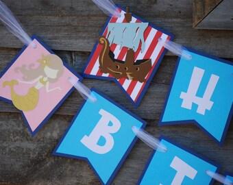 Mermaid Pirate Birthday Party Banner/ Twin Birthday Party/ Pirate Mermaid Theme/ Mermaid, Mermaid Baby Shower