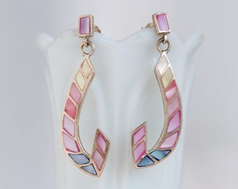 Colorful Dangle Earrings - Sterling Silver and Mother of Pearl Pink Blue and Yellow - Vintage 80s Jewelry