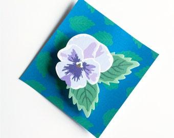 Spring/Summer Lilac Pansy Flower Brooch