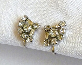 Sterling Rhinestone Screw On Earrings Signed Jay Flex, Sterling Silver Jewelry