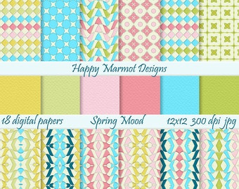 Digital Craft Paper Scrapbooking Backgrounds Printable Digital Resources Design - 18 papers - 300 dpi - 12x12 - jpg - SPRING MOOD