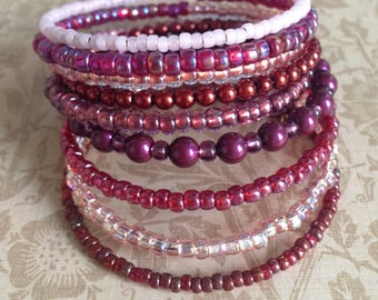 Memory Wire Bracelet in Shades of Pink, Red, and Purple Glass Beads- Wild Berry