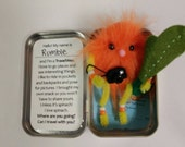 "SALE!  Travel Wee ""Rumble"" - Hand stitched travelling buddy, toy in a tin, fits in a pocket! Vacation friend - ready to ship!"