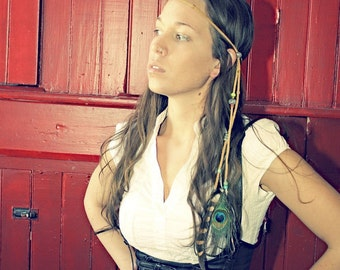 Handmade Feather Hippie Tie Leather Headband, Tribal Eagle and Peacock Feathers, Long Feather Extensions
