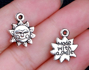 """10pcs-""""Made with Smile"""" charm, silver Sun charm, antique silver smile Sun charm"""
