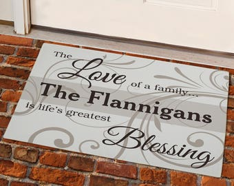 Family Blessing Personalized Doormat, personalized floor mat, indoor mat, outdoor mat, home decor, custom decor, personalized -gfy831100957S