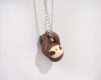 Miniature sloth necklace -brown