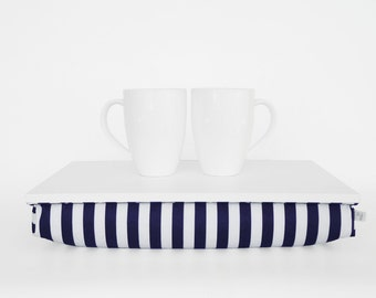 Serving tray with pillow, Lap desk, Laptop stand, Breakfast in Bed Tray - off white with navy and white striped Pillow