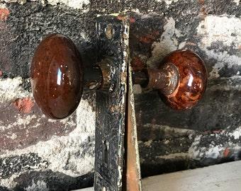 Antique Victorian Eastlake plate Marbled Doorknobs set
