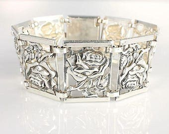 Sterling Panel Bracelet, Repousse silver Rose Bracelet, Vintage Danecraft style jewelry