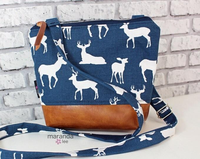 BRI Messenger Bag  - Navy Deer  PU Leather -  Adjustable messenger Zipper Purse