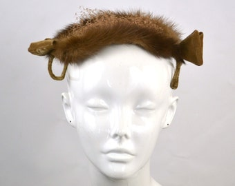 1950s Real Mink Fur and Bow Fascinator Hat, Cocktail Hat, Millinery, Needs TLC