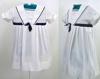 1980s Toddler Girls White and Navy Blue Nautical Sailor Dress by Youngland