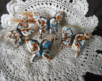 4 Butterfly Shaped-Glazed Ceramic Macrame Beads-Handcrafted-Brown and Blue-Mocha Marble-BF1