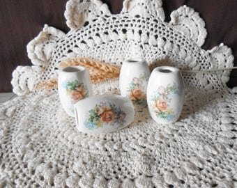4 Lg Oval  Shaped Glazed Ceramic Macrame Beads-Handcrafted-Flower Bouquet Decal-LD18