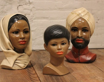 Vintage Marwal Plaster of Paris Statuary of Ethnic Family