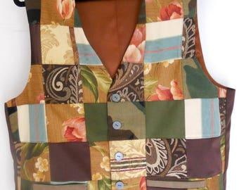 Patchwork men's clasic vest, green patchwork vest, size XL mens vest, ready to ship