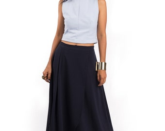 Blue Skirt, split skirt, maxi skirt, long dark blue skirt, navy blue skirt, women's skirt : Feel Good Collection No.5