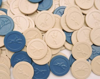 Lot of 96 Vintage 1940's era Clay Poker Chips - Embossed Horse & Jockey Design - Equestrian Theme - Blue and White