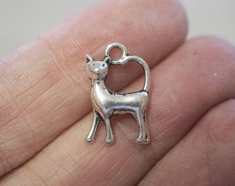 10 Metal Antique Silver Cat Charms -17mm