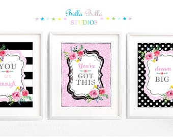 Set of 3 Inspirational Quotes Floral 8x10 Prints ~ Printable Download