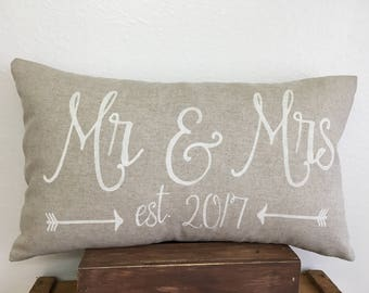 Custom Mr & Mrs pillow cover with est. date and arrows - 12X20 -  lumbar - wedding gift - wedding decor