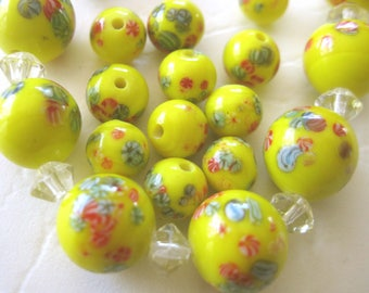 True Yellow Vintage Japanese Lampwork Beads E345