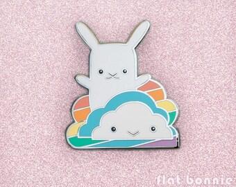 Locker magnet rainbow cloud, Fridge magnet kawaii bunny, Cute animal refrigerator magnet rabbit, LGBT LGBTQ gift, Strong magnet, Flat Bonnie