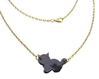 Enamel Cat Necklace Miniblings kitten enamelled 45cm feline pet black