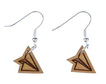 Paper airplane earrings earring Miniblings aircraft pilots Origami LC wood S