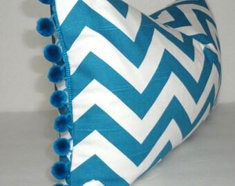 NEW Teal & White Chevron Pom Pom Lumbar Pillow Cover 12x18 Pom Pom Zig Zag Pillow Cover