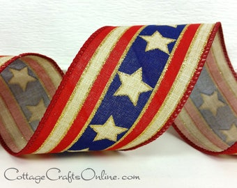 "Wired Ribbon 2 1/2"" American Stars, Stripes Red, Blue, Gold Metallic - TEN YARD ROLL - ""American Gold Star"" Patriotic, July 4th Wire Edged"