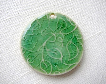Green Leaf Pendant Stoneware Clay