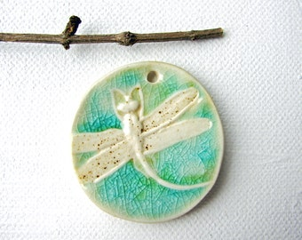 Spring Dragonfly Pendant, Stoneware Clay