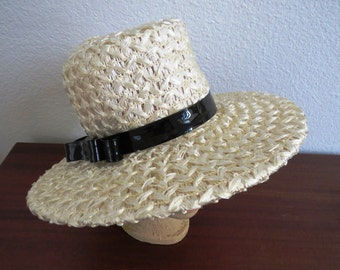 1960s Off White Raffia Straw Wide Brim Hat with Patent Leather Band Bow by Karen Hats  Kentucky Derby Hat Costume Church Hat Easter