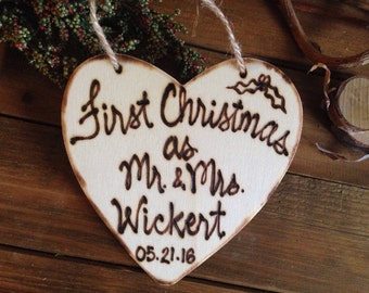 HOLIDAY Ornament First Christmas as Mr. & Mrs. Together Rustic Custom Wood Ornament Personalized for the Newlyweds