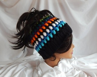 Messy Bun Hat Pony Tail Hat - Crochet Woman's Fashion Hat - Muli Color