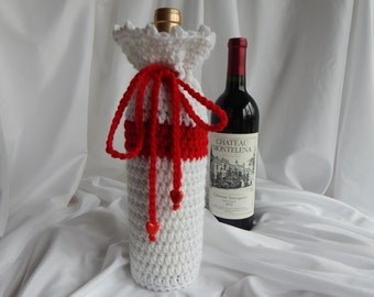 Crochet Wine Bottle Cover Cozy - Red and White with Red Heart Charms - Valentine's Day