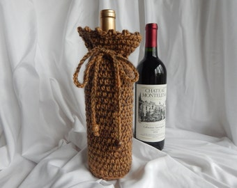 Wine Bottle Cover - Crochet Wine Cozy - Shades of Brown with Wood Beads