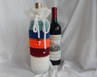 Wine Bottle Cover - Crochet Wine Cozy -  Burgundy Orange Blue Green with Wood Beads