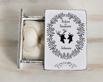 Personalized ring box White Ring bearer box Wedding ring box Antlers box Deers wedding box Wedding ring holder Book box Engagement ring box
