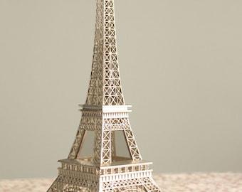 La Tour Eiffel Cake Topper / Silver Metal Eiffel Tower / Large 10 Inch Size / Wedding Cake Decoration / Bridal / Party Supplies / French