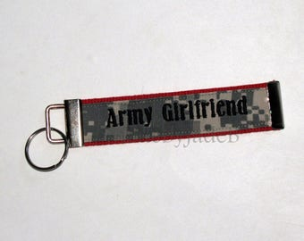 Army Girlfriend FLAT Key Fob In Red and ACU / READY to ship