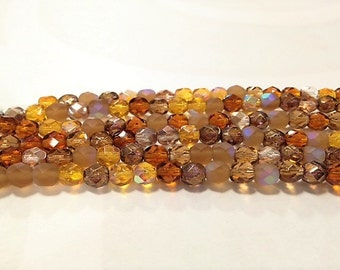 6mm Brown Mix Firepolish Glass, 6mm Faceted Brown Glass, 6mm Firepolish Glass, 6mm Topaz Firepolish, 6mm Dark Topaz Firepolish, Brown Mix